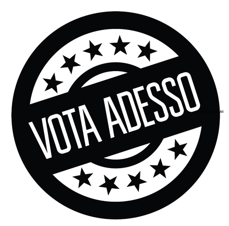 vote now black stamp in italian language. Sign, label, sticker