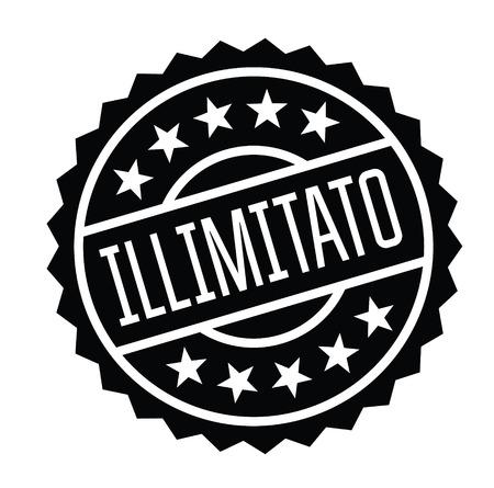 unlimited black stamp in italian language. Sign, label, sticker
