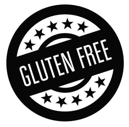 gluten free rubber stamp black. Sign, label sticker