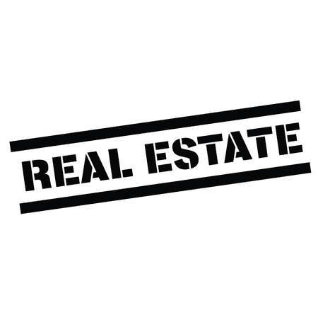 real estate rubber stamp black. Sign, label sticker