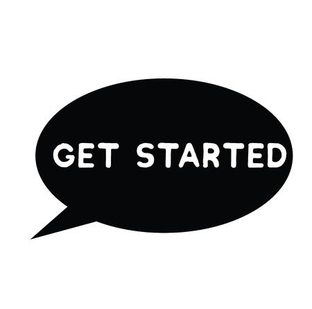 get started rubber stamp black. Sign, label sticker