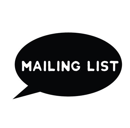 mailing list rubber stamp black. Sign, label sticker Stockfoto - 110434693