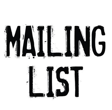 mailing list rubber stamp black. Sign, label sticker Stockfoto - 107494655