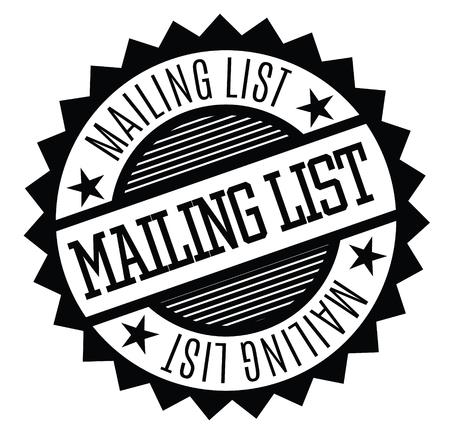 mailing list rubber stamp black. Sign, label sticker