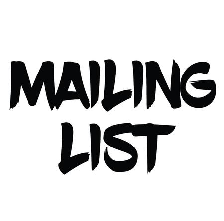 mailing list rubber stamp black. Sign, label sticker Stockfoto - 110434696