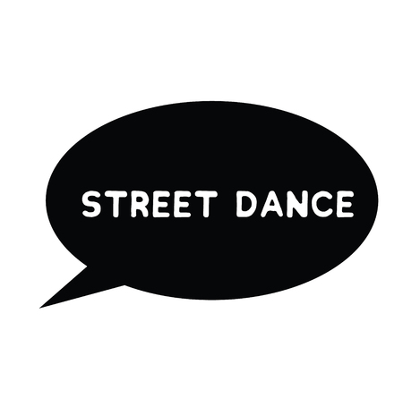 street dance rubber stamp black. Sign, label sticker  イラスト・ベクター素材