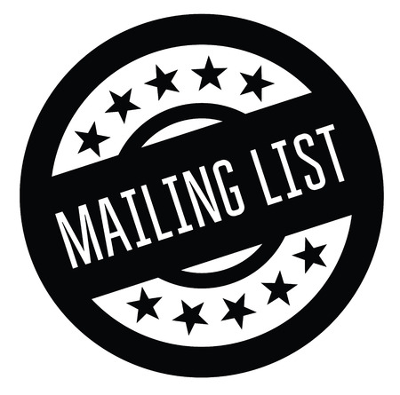 mailing list rubber stamp black. Sign, label sticker