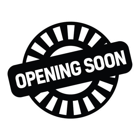 opening soon rubber stamp black. Sign, label sticker Vektorové ilustrace
