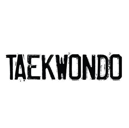 taekwondo rubber stamp black. Sign, label sticker