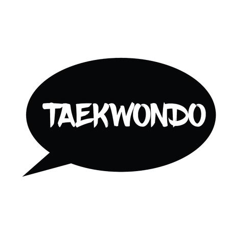 taekwondo rubber stamp black. Sign, label sticker