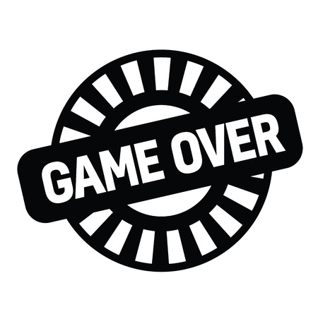 game over rubber stamp black. Sign, label sticker Illusztráció