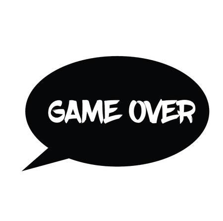 game over rubber stamp black. Sign, label sticker