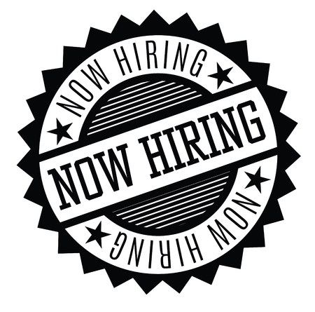 now hiring rubber stamp black. Sign, label sticker