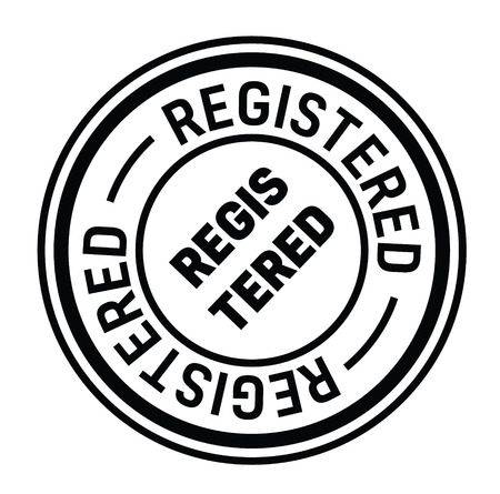 registered rubber stamp black. Sign, label sticker