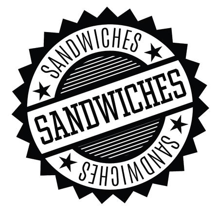 sandwiches rubber stamp black. Sign, label sticker Çizim