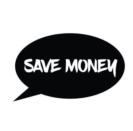 save money rubber stamp black. Sign, label sticker
