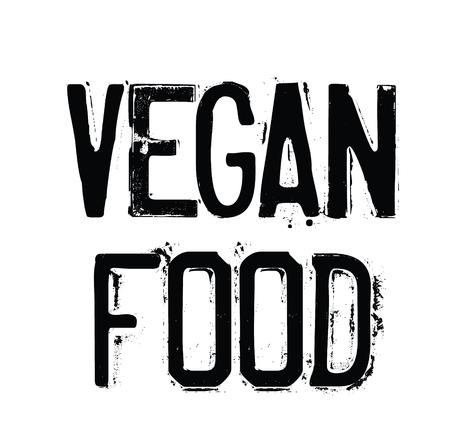 vegan food rubber stamp black. Sign, label sticker