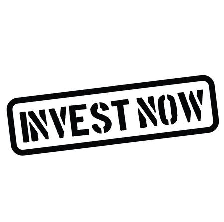 invest now rubber stamp black. Sign, label sticker Stockfoto - 110402315