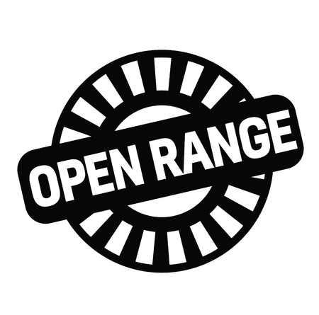 open range rubber stamp black. Sign, label sticker Standard-Bild - 110402325