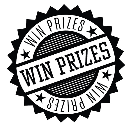 win prizes rubber stamp black. Sign, label sticker