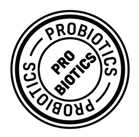 probiotics rubber stamp black. Sign, label sticker