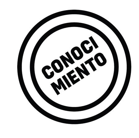 knowledge black stamp in spanish language. Sign, label, sticker