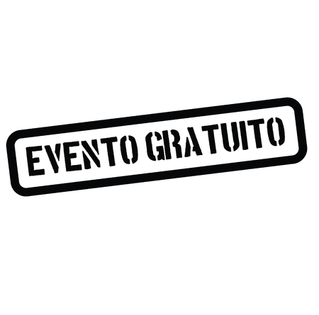 free event black stamp in spanish language. Sign, label, sticker