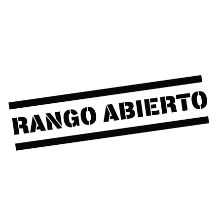 open range black stamp in spanish language. Sign, label, sticker