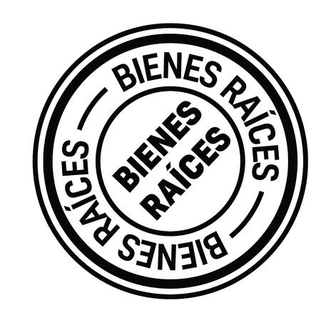 real estate black stamp in spanish language. Sign, label, sticker