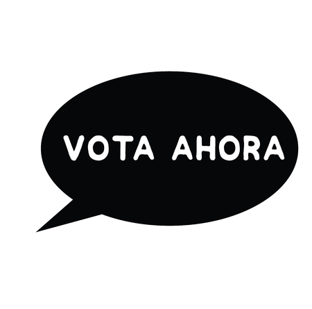 vote now black stamp in spanish language. Sign, label, sticker 일러스트