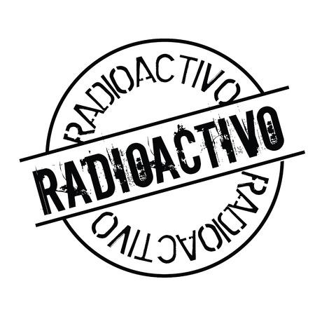 radioactive black stamp in spanish language. Sign, label, sticker