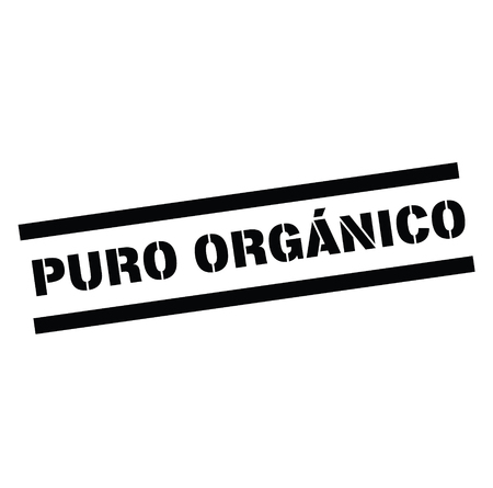 pure organic black stamp in spanish language. Sign, label, sticker