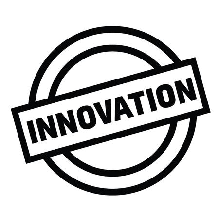 sello de goma de innovación negro. Signo, etiqueta adhesiva Ilustración de vector