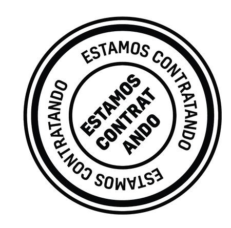 now hiring black stamp in spanish language. Sign, label, sticker