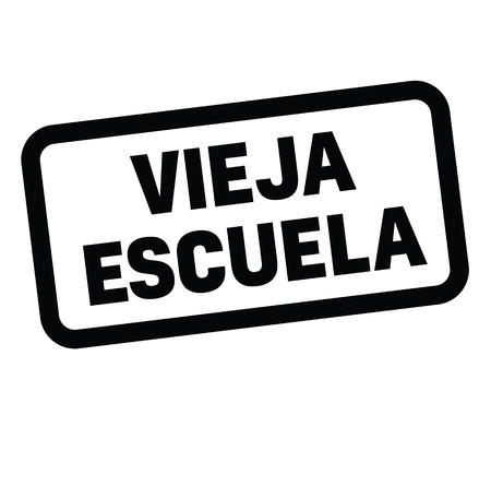 old school black stamp in spanish language. Sign, label, sticker