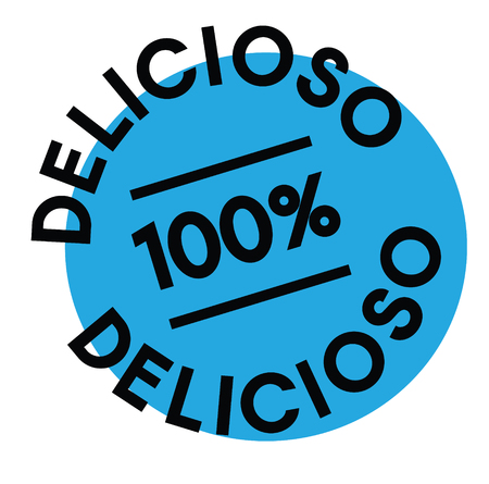 delicious black stamp in spanish language. Sign, label, sticker
