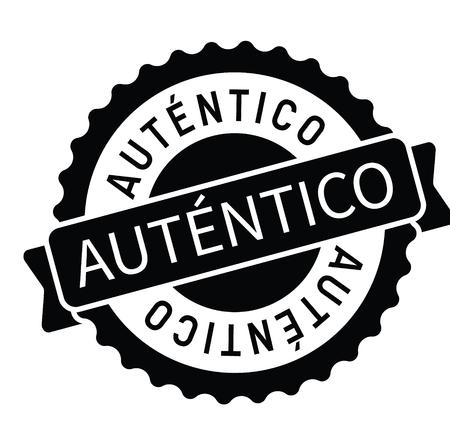 authentic black stamp in spanish language. Sign, label, sticker