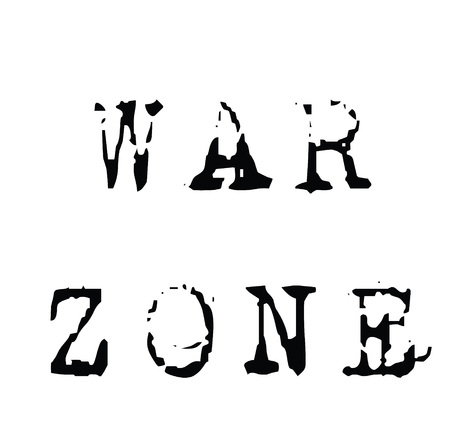 timbre en caoutchouc de zone de guerre noir. Signe, autocollant d'étiquette Vecteurs