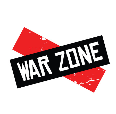 war zone rubber stamp black. Sign, label sticker