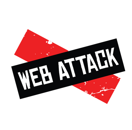web attack rubber stamp black. Sign, label sticker Standard-Bild - 110402484