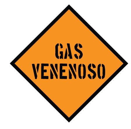 poison gas black stamp in spanish language. Sign, label, sticker Illustration