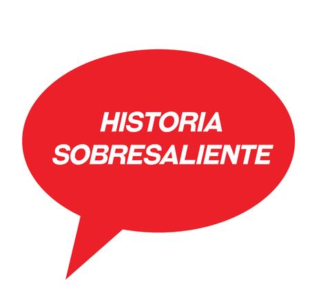 top story black stamp in spanish language. Sign, label, sticker Illustration