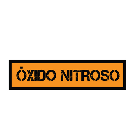 nitrous oxide black stamp in spanish language. Sign, label, sticker