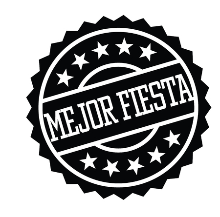 best party black stamp in spanish language. Sign, label, sticker