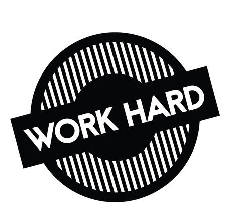 work hard rubber stamp black. Sign, label sticker 矢量图像