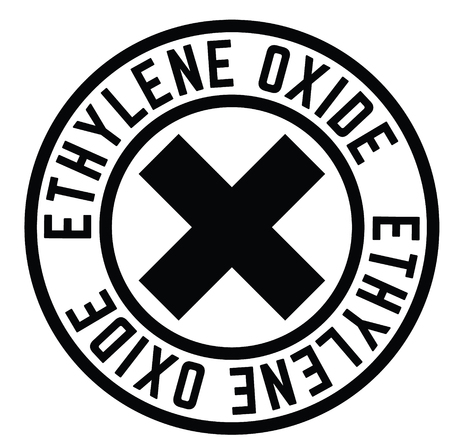 ethylene oxide rubber stamp black. Sign, label sticker