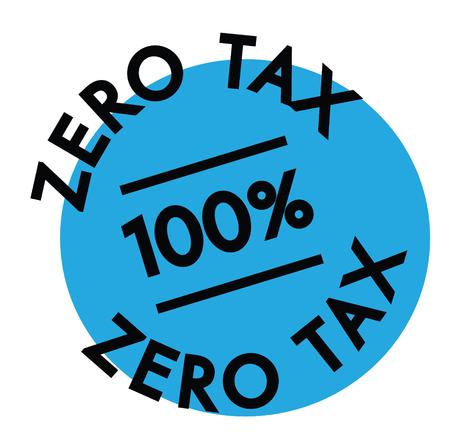 zero tax rubber stamp black. Sign, label sticker