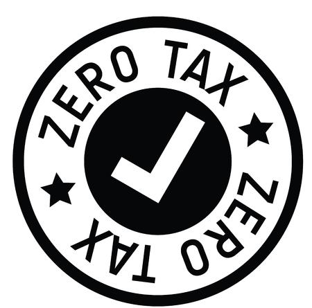 zero tax rubber stamp black. Sign, label sticker Иллюстрация