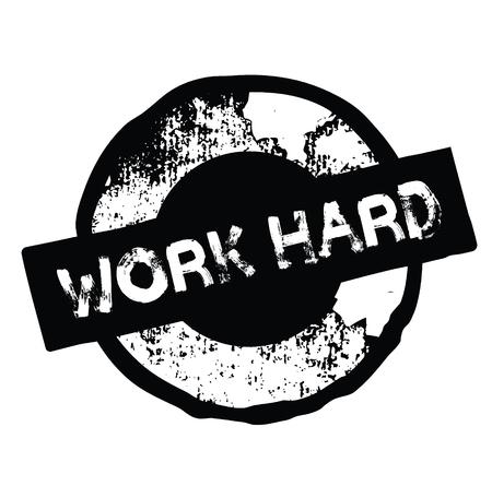 work hard rubber stamp black. Sign, label sticker Ilustração