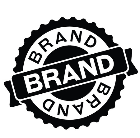 brand rubber stamp black. Sign, label sticker